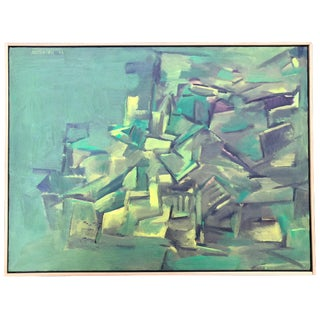 1991 Vintage Larry Kozuszek Abstract Oil Painting For Sale