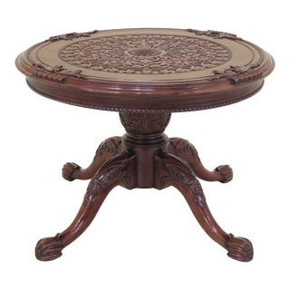 1990s Tradiitonal Heavily Carved Solid Mahogany Round Center Table For Sale