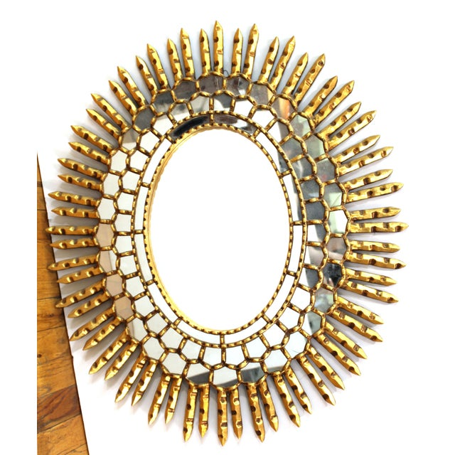 Mid-Century Modern Oval Sunburst Giltwood Mirror For Sale - Image 10 of 10