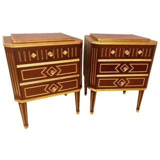 A Pair of Mahogany Russian Neoclassical Three Drawer End Tables or Night Stands