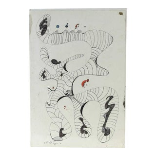 Midcentury Abstract Art: Space Station Drawing by William P. Katz For Sale