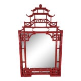 Image of Red Lacquer Pagoda Mirror For Sale