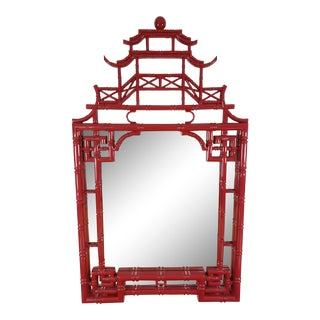 Red Lacquer Pagoda Mirror For Sale