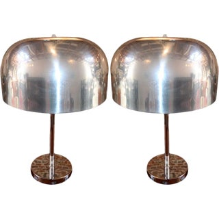 1970s Lightolier Aluminium Table Lamps - a Pair For Sale