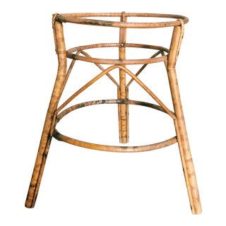 20th Century Boho Chic Bamboo Planter Holder Stand For Sale