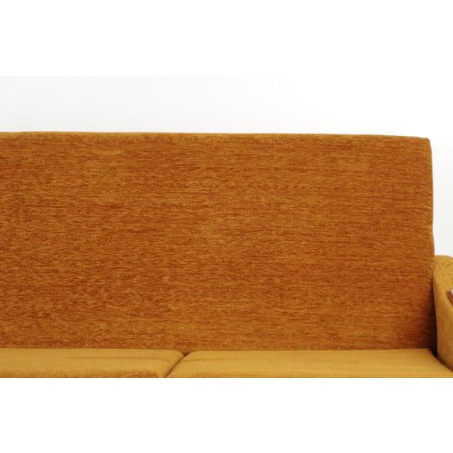 Scandinavian Mid Century Modern Orange Sculpted Walnut Sofa circa 1960s - Image 6 of 11