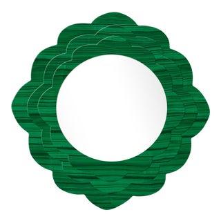 Fleur Home x Chairish Audobon Magnolia Circle Mirror in Malachite, 24x24 For Sale