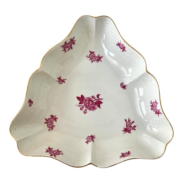 Vintage Herend Chinese Bouquet Raspberry Pink Triangle Serving Dish For Sale