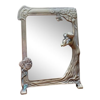 "Art Nouveau Brass ""Lady of the Lake"" Table Mirror C.1910 For Sale"