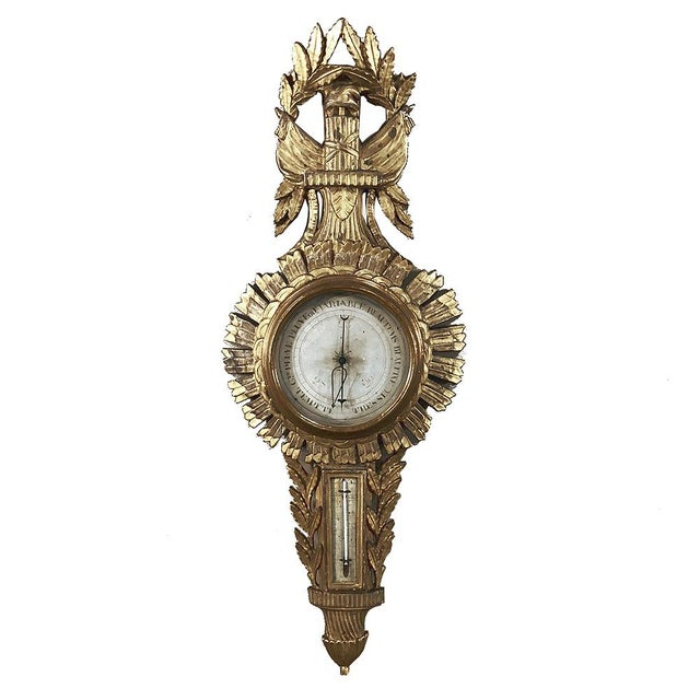 18th Century French Louis XVI Giltwood Barometer ~ Thermometer For Sale - Image 13 of 13