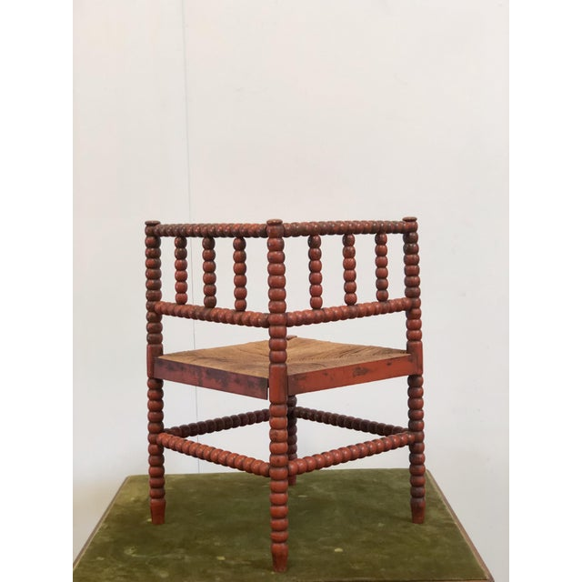 1940s Vintage French Turned Wood Corner Chair For Sale - Image 4 of 10