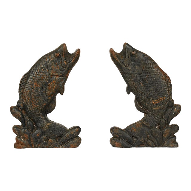 Pair of Antique American Cast Iron Leaping Fish Andirons For Sale