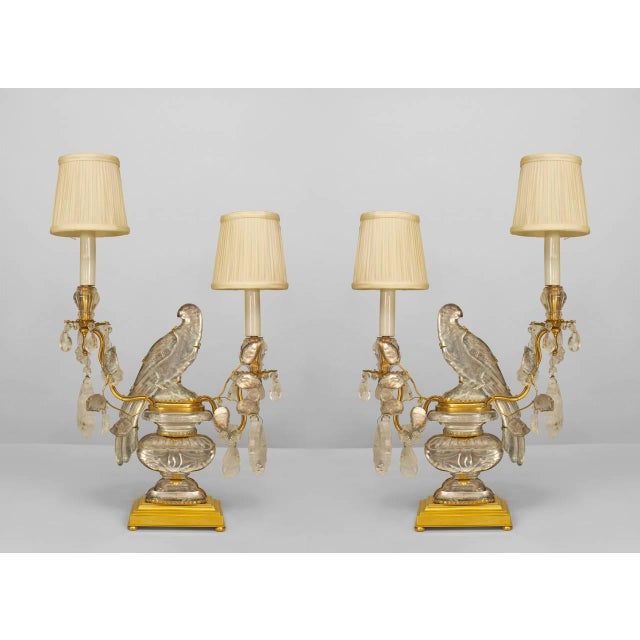 A Lovely Pair of French Crystal Bird Candelabra For Sale - Image 4 of 4