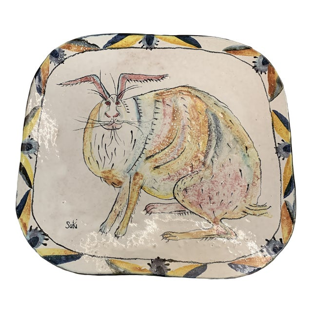 Hand Painted Suki Diamond Rabbit Pottery Charger For Sale