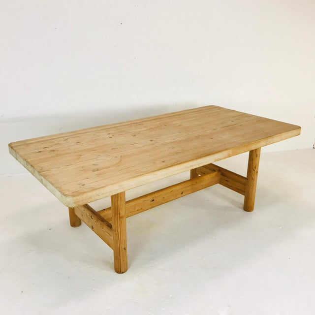 Substantial Solid Scandinavian Pine Butcher Block Dining Table For Sale - Image 12 of 13
