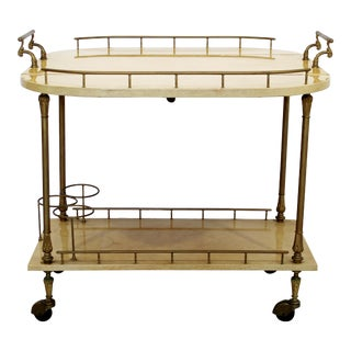 Neoclassical Modern Aldo Tura Lacquered Goatskin 2 Tier Bar Cart Italy 1960s For Sale