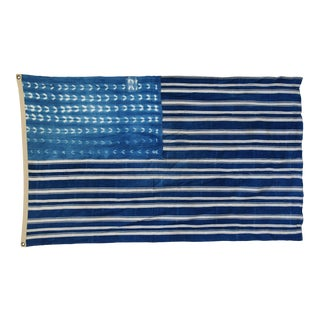 "Boho Chic Indigo Blue & White Flag From African Textiles 91"" X 38"" For Sale"