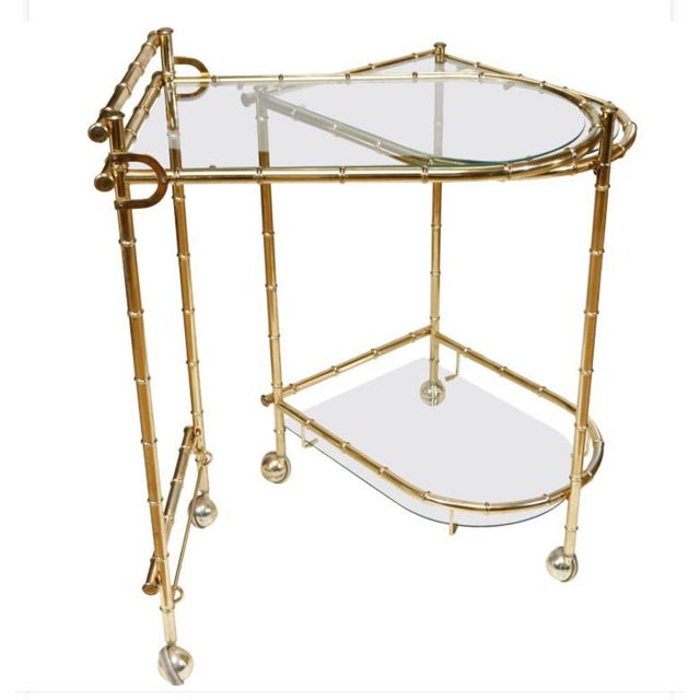 1960s Chippendale Maison Jansen Brass Faux Bamboo Swivel Bar Cart For Sale - Image 11 of 11