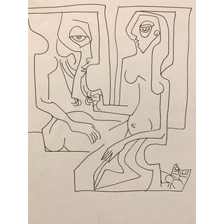 """Donald Stacy """"In Cubed"""" C.1950s Ink Mid Century Cubist Drawing For Sale"""