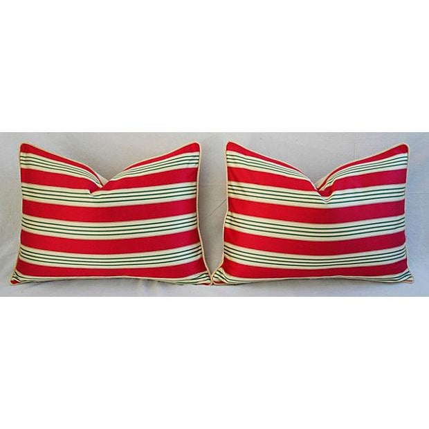 Red, Cream & Green French Stripe Ticking Velvet Feather/Down Pillows - Pair For Sale - Image 4 of 6