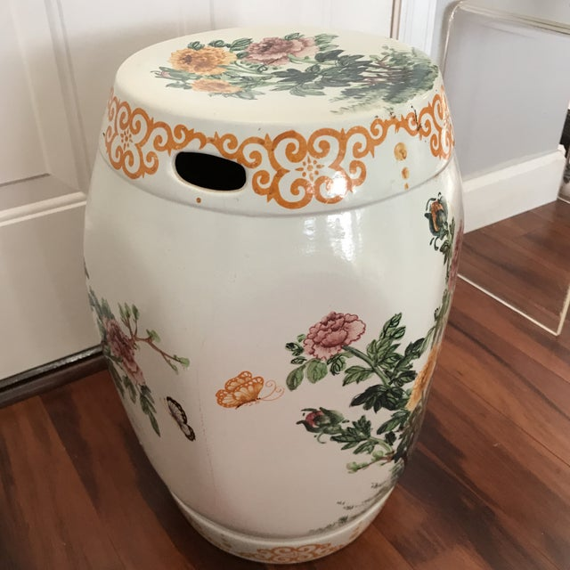 Vintage Hand Painted Hexagonal Garden Seat For Sale - Image 5 of 6