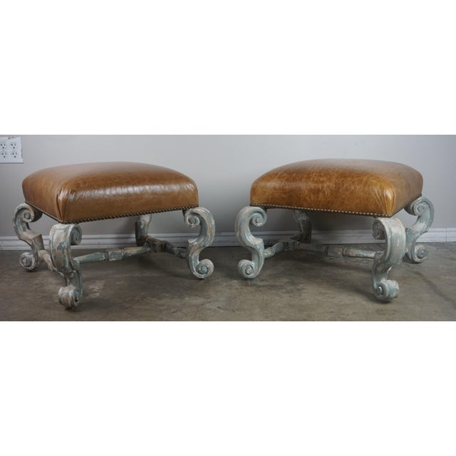 Pair of French Painted Benches With Leather Upholstery For Sale - Image 12 of 12
