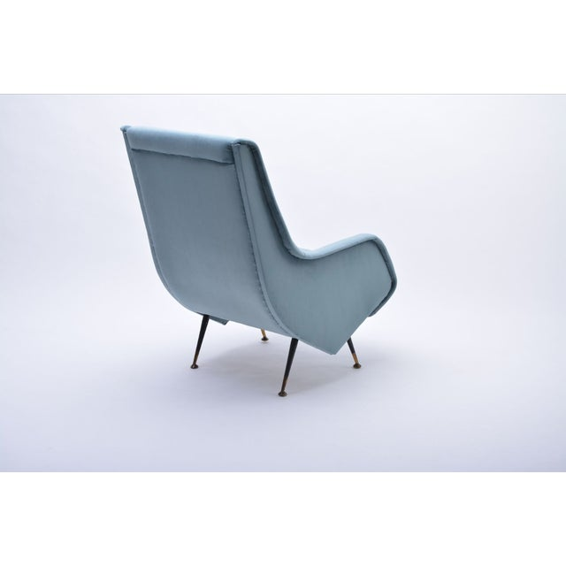 I.S.A. Bergamo Italian Blue Armchair from ISA Bergamo, 1950s For Sale - Image 4 of 10