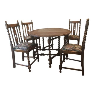 Antique Country Oak Barley Twist Gate Leg Oval Drop Leaf Table & Chairs Set For Sale