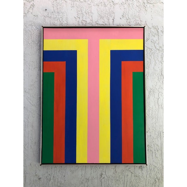 1970s Vintage Large Opt Art Painting For Sale - Image 9 of 9