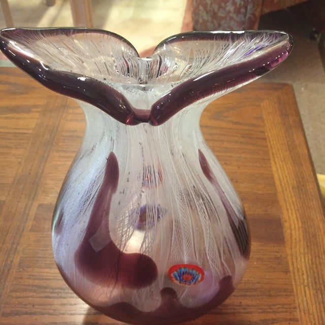 Purple & White Blown Glass Vase - Image 3 of 6