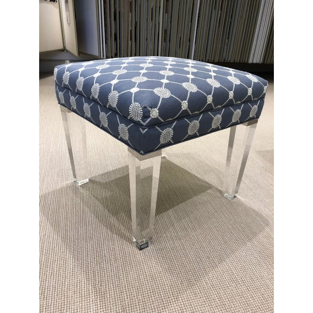 New York floor sample. Beekman Square bench. Tight upholstered top. Self welt. Lucite legs