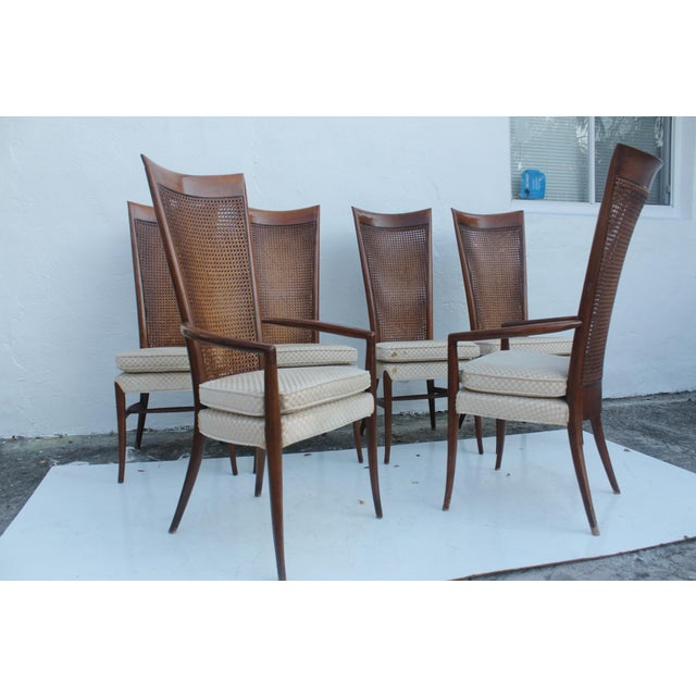 Mid-Century Modern Robsjohn Gibbins Style Teak Cane Tall Back Dining Chairs Set of 6 For Sale - Image 3 of 11