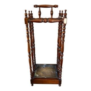 Antique English Walnut Brass Stick & Umbrella Stand For Sale