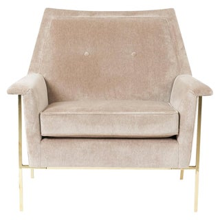 Velvet Upholstered Brass Frame Lounge Chair Attributed to Harvey Probber For Sale