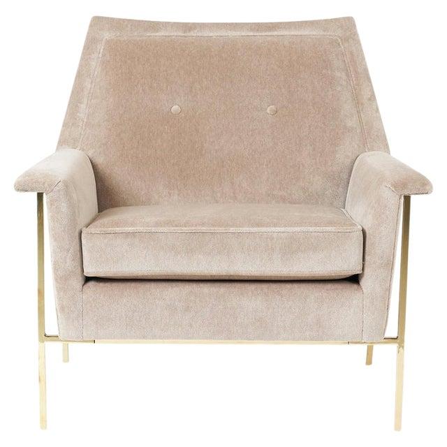Velvet Upholstered Brass Frame Lounge Chair Attributed to Harvey Probber For Sale