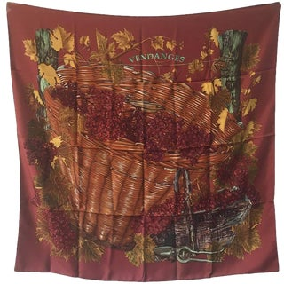 Hermes Vendanges Silk Scarf in Dark Red For Sale
