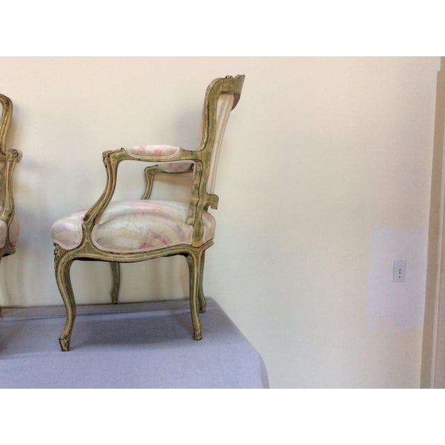 Vintage French Arm Chairs - A Pair For Sale - Image 4 of 8