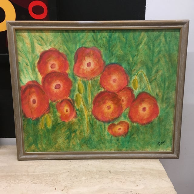 Canvas Vintage Poppies Painting on Canvas For Sale - Image 7 of 8