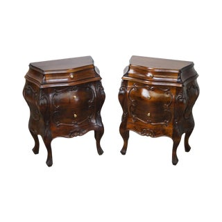 Vintage Italian Walnut Small Bombe Commode Chests - A Pair For Sale