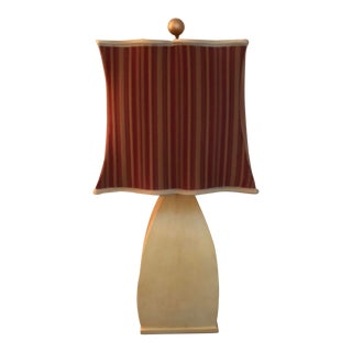 Traditional Lacquered Goatskin Lamp and Shade