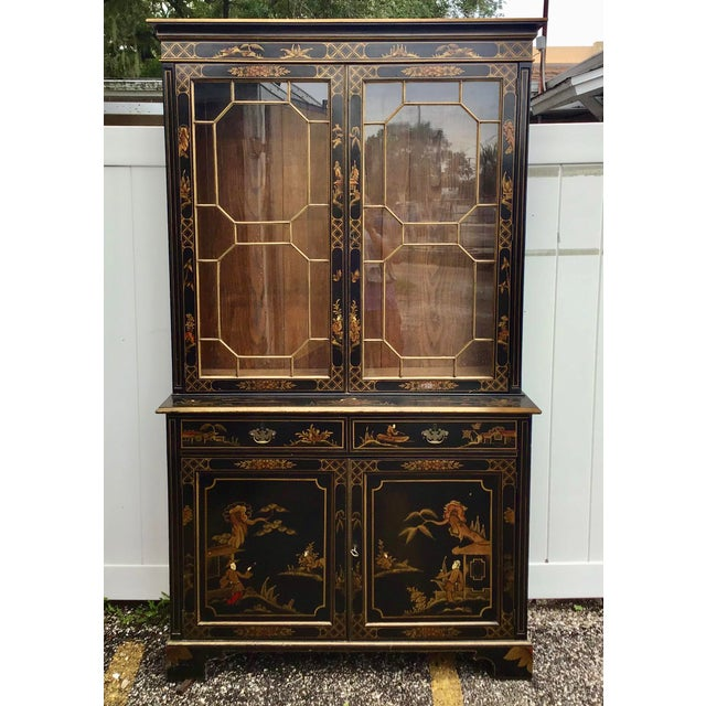 19th Century Chippendale Chinoiserie Bookcase Cabinet For Sale - Image 12 of 13