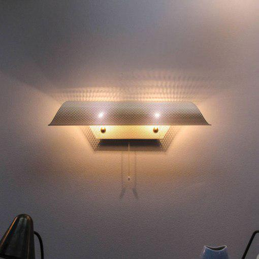 Gold French Perforated Wall Light by Lunel For Sale - Image 8 of 10