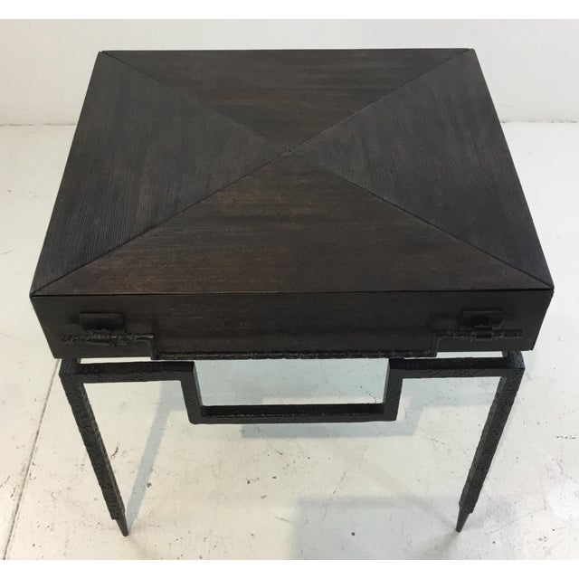 Stylish Global Views industrial modern Scratch end table textured wood body with one drawer, textured iron frame, showroom...