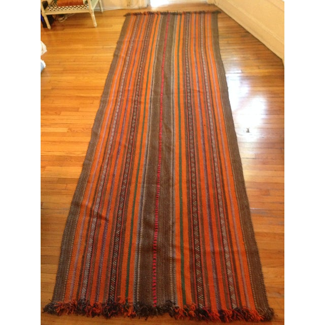 "Yemeni Tribal Wool Flat Weave Rug - 3'5"" x 10'1"" - Image 4 of 4"