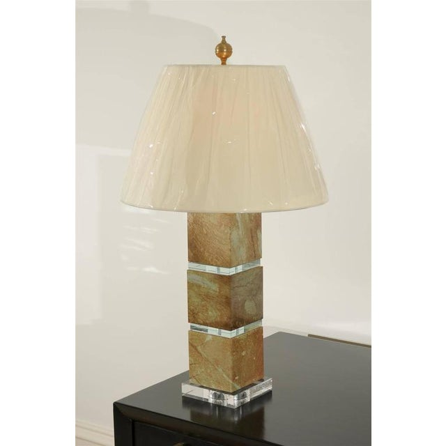 Traditional Restored Pair of Modern Lamps in Jade and Crystal For Sale - Image 3 of 10