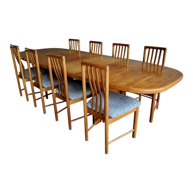 1970s Danish Modern Teak Dining Table + 8 Chairs For Sale