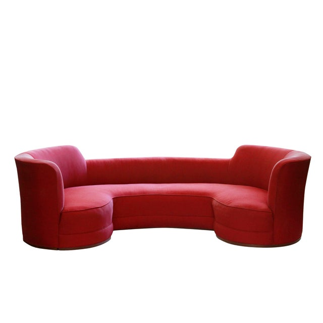 Mid-Century Curved Dunbar Oasis Sofa by Edward Wormley For Sale - Image 9 of 9