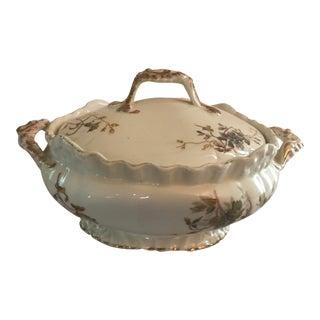 Antique Limoges France Fine Porcelain Covered Vegetable Dish With Handles For Sale