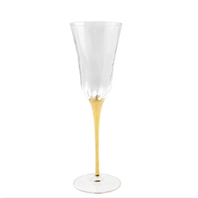 2020s Kenneth Ludwig Chicago Optical Gold Stem Champagne Flutes For Sale - Image 5 of 5