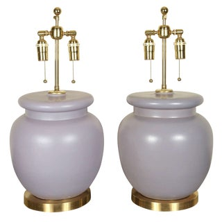 Lavender Ceramic Table Lamps - a Pair For Sale